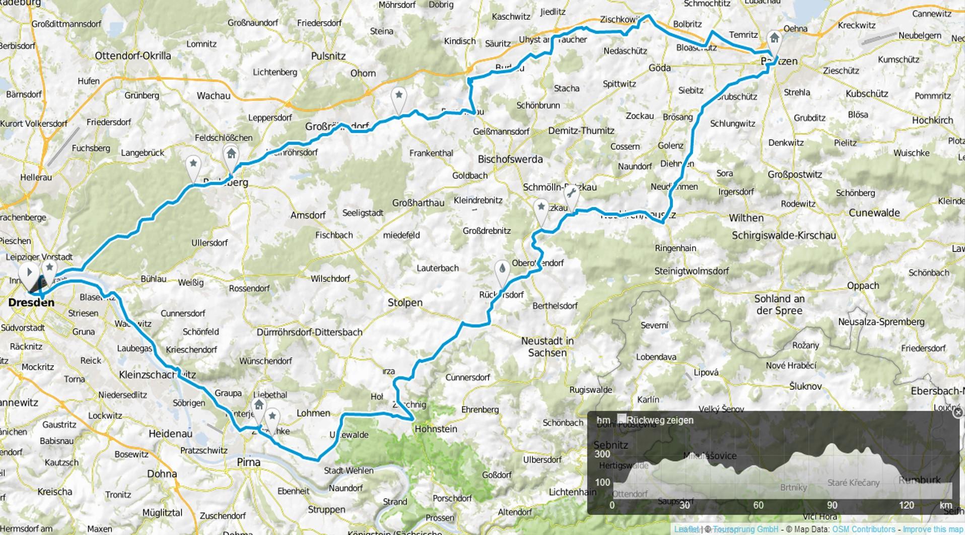 Strecke der RTF 1 beim 19. SZ-Fahrradfest