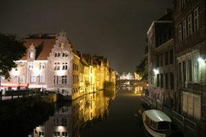 Altstadt Gent bei Nacht